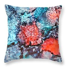 "Happy Galaxy Throw Pillow (14"" x 14"") by Tammy Finnegan.  Our throw pillows are made from 100% cotton fabric and add a stylish statement to any room.  Pillows are available in sizes from 14"" x 14"" up to 26"" x 26"".  Each pillow is printed on both sides (same image) and includes a concealed zipper and removable insert (if selected) for easy cleaning."