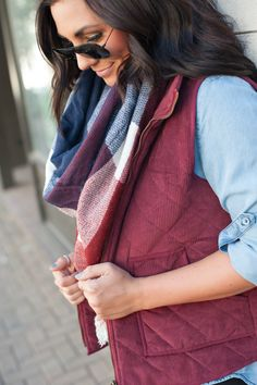 || Burgundy Corduroy Vest || + || Navy & Red Blanket Scarf ||