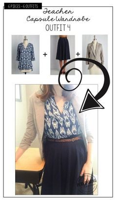 Teacher wardrobe: make a cute capsule wardrobe to wear to class Teacher Appropriate Outfits, Professional Teacher Outfits, Student Teaching Outfits, Summer Teacher Outfits, Professional Dresses, Capsule Wardrobe Mom, Teacher Wardrobe, Capsule Outfits, Teacher Clothes