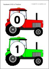 The numbers from 0 to 50 presented on coloured tractors. Numbers Preschool, Preschool Classroom, Kindergarten Math, Classroom Themes, Number Activities, Preschool Activities, Name Crafts, Farm Unit, Creative Curriculum