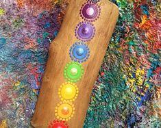 Hand Painted Wooden Magnet   Chakra Colors   Dot Art   Wood   Mixed Media   InspiredHeart Art   Inspired Heart Art   Yoga   Rainbow