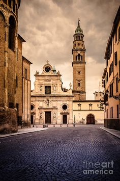 Church And Bell Tower In Parma Italy Photograph