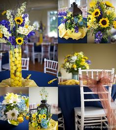 layout. five. sunflowers. blue and yellow. wedding.