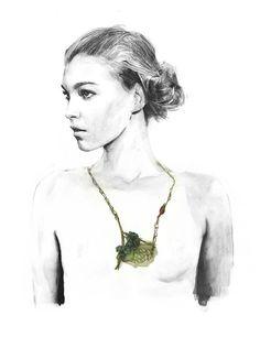Joya, Contemporary Jewellery by Berto Martinez illustration Jewelry Illustration, Illustration Girl, Jewelry Drawing, Contemporary Jewellery, Modern Art, Digital Art, Sketches, Drawings, Drawing Fashion