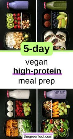 5-Day of easy, High-Protein Vegan Meal Prep ideas for Weight Loss. Tasty recipes on a budget, to prepare for the week on a lazy Sunday. Learn how to healthy meal prep, like a pro!   thegreenloot.com #vegan #mealprep