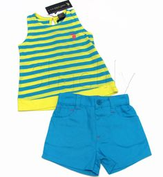 US Polo Assn Girls Yellow Stripe Tank Top Shirt and Blue Shorts 2-Piece Set  Another adorable outfit by USPA!
