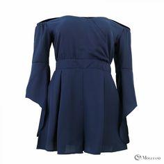 Cobalt Blue Sweetheart Neckline Off-Shoulder Playsuit front