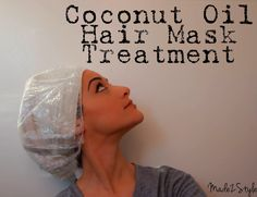 Coconut Oil Hair Mask Treatment Smooth coconut oil on hair and massage into scalp. Wet a towel and heat it up. Wrap towel around hair followed by a plastic cap. Leave on for 30-40 mins (or wrap with Saran Wrap and to bed). Wash out with sulfate free shampoo and condition. Make hair soft and shiny promotes growth.
