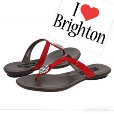 New Brighton Poetry Cherry Red Sandals Sale New with Tags, Red croc leather  thongs with Brighton's silver embellished flower. Great for summer. Size 8.5 Brighton Shoes Sandals