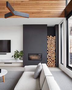 Modern home design Fireplace Doors, Fireplace Design, Fireplace Mantel, Fireplace Ideas, Decor Interior Design, Interior Decorating, Decorating Tips, Bloomfield Homes, Black Feature Wall