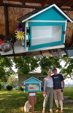 This whimsical turquoise with white trim little free library was installed on the 700 block of East Glass in Spokane, WA. Built by Little Library Builder of Spokane! www.littlelibrarybuilder.com Little Free Libraries, Little Library, Free Library, Patio Paint, White Trim, Paint Colors, Whimsical, Turquoise, Building