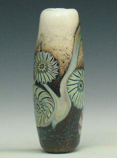 SJC Lampwork 30 x 11 mm. handmade murrini & silver glass tube bead ~SRA~ USA~ #SJCLampwork #Lampwork