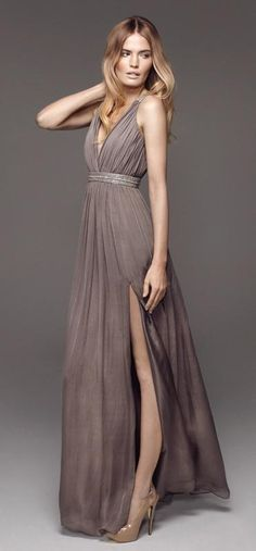 Rosita in Taupe long dress (in Jul 2012). Love ...