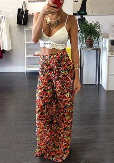 Adding a floral headpiece to this outfit comprises a complete and catchy bohemian look. | Lookbook Store Bohemian Style