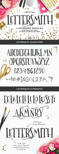 Lettersmith • Letterpress Design Kit by MakeMediaCo. on Creative Market Very, very cute. #resources #fonts