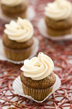 Chocolate and Honey Banana Mini-Cupcakes with Luscious Honey Cream Cheese Frosting. Um, YUM!
