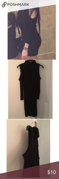 BCBG sweater dress cut out bodycon size medium Beautiful cut out turtle neck bcbg dress. Size medium . Worn once. Has cut outs on arm which is the biggest trend right now. All internal tags were removed. BCBG Dresses Mini