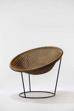 JOSEPH ANDRE MOTTE  Catherine Chair, 1952 Rattan and black painted metal