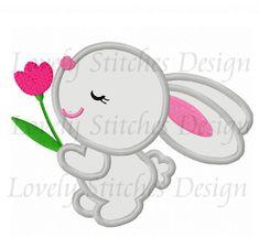 Easter Bunny Flower Applique Machine Embroidery Design NO:0499