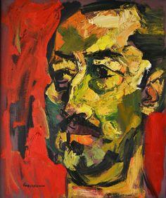 """Oswaldo Guayasamín (1919 – 1999) """"Retrato del Artista Chávez Morado"""", de 1960 – nesta obra o artista faz o retrato através da sobreposição de grossas camadas de tinta, característica expressionista deste seu trabalho."""