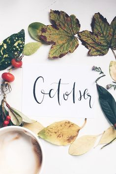 Hello Fall! Modern Calligraphy, Coffee And Leaves