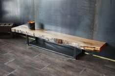 Tv stand / bench tv live edge wood industrial style custom-made Creation and Direction: MICHELI Desi Live Edge Furniture, Furniture Logo, Steel Furniture, Furniture Layout, Rustic Furniture, Modern Furniture, Furniture Design, Furniture Stores, Cheap Furniture