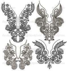 Designs Concept: Embroidery Designs - 54 (Embroidery Neck, Patali, kali designs)
