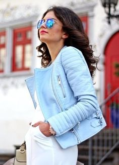 9ba70668 Details about NEW ZARA PASTEL BLUE FAUX LEATHER BIKER JACKET WITH QUILTED  SLEEVES XL 4341/023