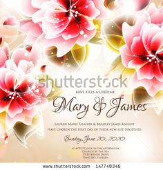 Wedding invitation or card with abstract floral background. by Wedding invitation cards, via ShutterStock