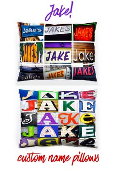 Custom name pillows featuring the name JAKE in photos of signs and sign letters. Love this for any kids room, dorm room or mancave!