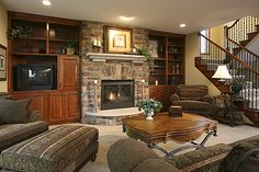 traditional gas fireplace with stone