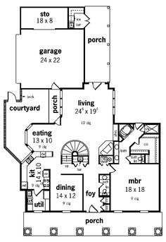 Delightful porch spaces, enchanting courtyard and open circular stairs - plan 020S-0008 - houseplansandmore.com