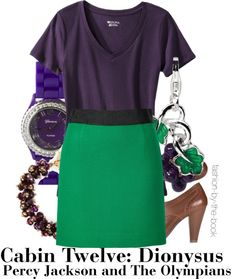 Outfit inspired by Cabin Twelve: Dionysus at Camp Half-Blood in Rick Riordan's Percy Jackson & the Olympians series