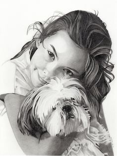 Commissioned art, pencildrawing, 30 x 40 cm Girl And Dog, Graphic Design Studios, Cup Design, Dogs, Fictional Characters, Art, Craft Art, Doggies, Kunst