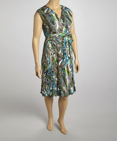Another great find on #zulily! Turquoise & Lime Floral Cap-Sleeve Dress - Plus by Glamour #zulilyfinds