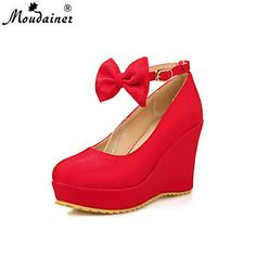 Women's Shoes Faux Leather Wedge Heel Wedges Pumps/Heels Office & Career/Casual Black/Red/Silver/Gold – USD $ 29.75