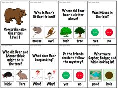 Bear Snores On Activities | Level 1 Comprehension Cards, includes 2 answer choices with pictures.