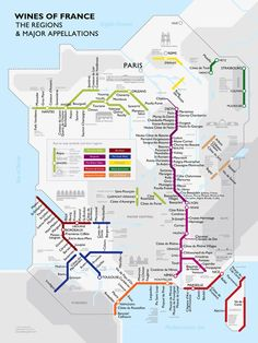 LES VINS DE FRANCE de David Gissen  Voir le site de l'auteur. The coolest way to understand the wine regions of France. This is almost an infographic rather than an illustrated map, but never mind.