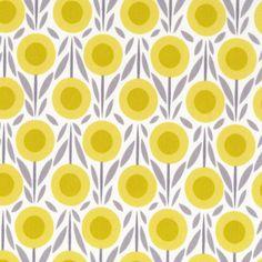 1/2 Yard Organic Cotton Fabric - Cloud9 Fabrics House & Garden 2014 - Flower Bed Yellow
