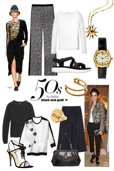 Fabulous at Every Age: Full-On Spring 50S: GO BOLD IN BLACK AND GOLD STYLIST'S TIP: Strong accessories elevate a monochromatic ensemble.