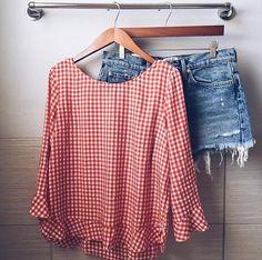 gingham + denim shorts | #OOTD by @_Anna_English on Instagram!