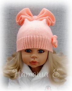 Baby Hats Knitting, Baby Knitting Patterns, Knitted Hats, Realistic Dolls, Baby Vest, Cat Hat, Crochet Baby, Hats And Caps, Knitting Needles