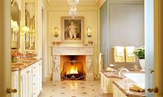 Taking a French dip (© Tucker & Marks) - love the idea of a fireplace in the bath! Oh really in every room - why not!