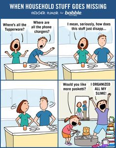 When Household Stuff Goes Missing (Parenting Comic by Hedger Humor for Babble) Parenting Teenagers, Parenting Memes, Parenting Books, Good Parenting, Parenting Classes, Parenting Ideas, Videos Funny, Funny Memes, Jokes