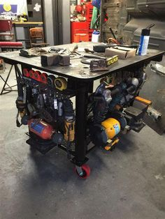 My welding table . shed ideas weldi. Welding Bench, Welding Table Diy, Welding Cart, Welding Shop, Welding Jobs, Metal Welding, Welding Projects, Diy Projects, Welding Ideas