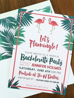 """Make your last single hoo-rah count with funny """"Let's Flamingle"""" printable bachelorette party invitations for a sunny escape with your bridesmaids."""