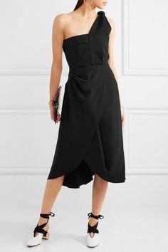 J.W.Anderson - One-shoulder Draped Crepe Dress - Black - UK14