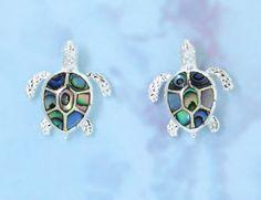 Hawaiian Silver Sea Turtle Earring w. Abalone (SEH1482) [ ] - Hawaiian Jewelry Wholesales, Hawaiian Bedazzled Jewelry and Gifts