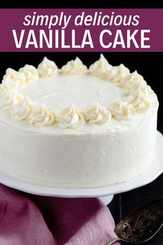 Fluffy, moist, and flavorful Vanilla Cake recipe! – Fluffy, moist, and flavorful Vanilla Cake recipe! Basic Vanilla Cake Recipe, Homemade Vanilla Cake, Moist Vanilla Cake, Homemade Cakes, 9 Inch Cake Recipe, Vanilla Recipes, Homemade Breads, Tolle Desserts, Köstliche Desserts