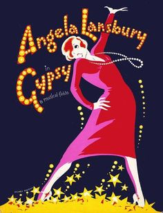 """""""Poster for musical Gypsy (1974) starring Dame Angela Lansbury in her Tony Award-winning role of Rose."""""""